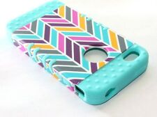 iPHONE 4 4G 4S -HARD&SOFT RUBBER HYBRID IMPACT CASE TURQUOISE BLUE CHEVRON WAVES