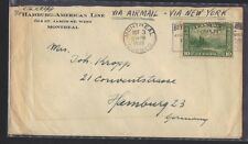 CANADA 1930 AIR MAIL VIA NEW YORK & ON HAMBURG AMERICAN LINES TO HAMBURG GERMANY