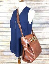 Shoulder Bag TEXIER Made in France Medium Brown Leather Gold Buckle
