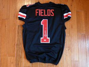 Justin Fields Signed Ohio State Custom Game Cut Black Jersey Size XL JSA