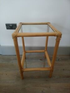 Vintage Bamboo Glass Coffee/Side Table shelf shelves bedside table retro tiki