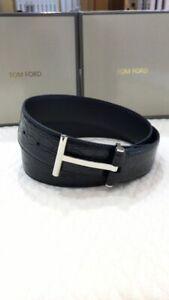 "TOM FORD Black ""Crocodile"" T Ridge Belt Size 90 / 36 (100% Authentic & New)"