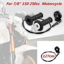 "Motorcycle Bike 7/8"" Aluminum+Glue Twist Throttle Handle Grips & Cable Kit Black"