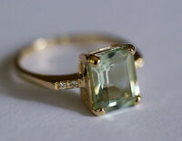R226 Genuine 9ct Yellow GOLD NATURAL Green Amethyst & Diamond Ring size M