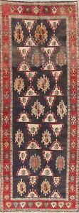 One-of-a-Kind Geometric Charcoal Ardebil Oriental Hand-Knotted 4'x9' Runner Rug
