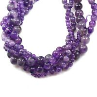 "Natural Purple Amethyst Round Beads 15"" 4mm 6mm 8mm 10mm 12mm Free Shipping"
