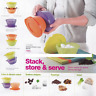 Tupperware Stack & Store Bowls Set of 4 Aqua Blue 2 Cup Capacity New