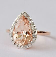 NATURAL MORGANITE RING 40pts VS DIAMONDS 9K ROSE GOLD SIZE N VALUATION $4650 NEW