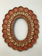 ANTIQUE vtg wood ORNATE FRAME FLORAL MIRROR  asian chinoiserie glass red~ OVAL