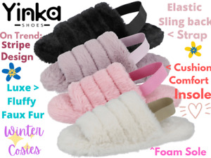 Ladies Faux Fur Fluffy Sliders Elastic Slingback Open Toe Slip On Slippers