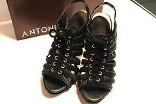 "Antonio Melani ""Amazed"" Slingback Peep Toe,Black leather, Size 7,in box,4"" heel"