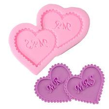 Wedding Cake Topper MR & MRS Silicone Mold Fondant Sugarcraft Double Heart Mold