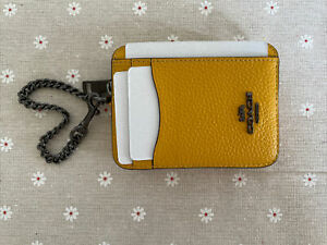 NWT COACH Zip ID Card Case With Chain Leather Mini Coin Wallet card holder
