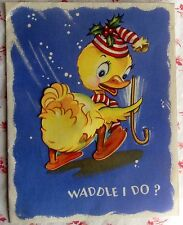 Vintage 1950 Christmas Greeting Card Cute Waddling Yellow Duck in Stocking Cap