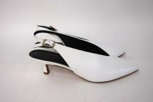 Tibi Slingback Pumps Lia White Glossy Leather Size 39 Pointed Toe Kitten Heel