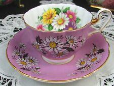 WINDSOR WHITE ENAMEL DAISY PURPLE TEA CUP AND SAUCER
