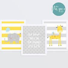 "Unisex Nursery Art Print Yellow & Grey 8""x10"" Three Pack | Jungle Safari"