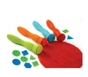 Soft Grip Geometric Stampers - Assorted - Pack of 4 - Great for Paint & Dough