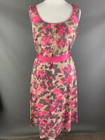 Monsoon Size 10 Cotton A Line Summer Dress Bright Pink Neutral Holiday Cruise