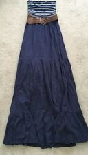 Jane Norman New Navy White Summer Strapless Boobtube Dress Size UK 6 RRP £45