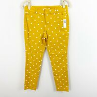 NEW Old Navy Pixie Ankle Polka Dot Pants Size 4 Yellow Cotton Blend Stretch