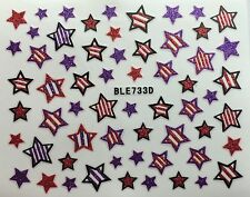 Nail Art 3D Decal Glitter Stickers Stars 4th of July Red White Purple BLE733D
