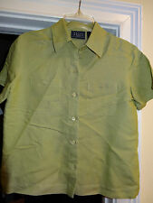 Crazy Horse Liz Claiborne Blouse Top Size Small Lime Green Short Sleeve