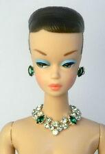 Barbie Doll Repro Vintage Handmade Green Necklace Earrings Jewelry Set NE100073