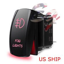 LED Waterproof RED ROCKER SWITCH LASER ETCHED 12v 20a LED FOG LIGHT CAR TRUCK