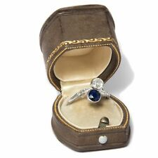 Antique Toi & MOI RING Art Déco, Diamonds & SAPPHIRE PLATINUM WHITE GOLD Engaged