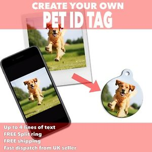 Create Your Own PET ID TAGS -Use Own Photo Image Logo Design - Engraved Dog Tags