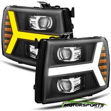 Fit 2007-2013 Chevy Silverado Black Projector Headlights w/LED DRL+Signal light