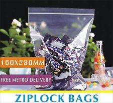 200pcs ReSealable Zip Lock Click Seal Plastic Poly Bags 150x230mm Recloseable