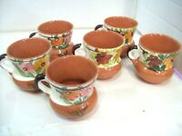 Set of Six Hand Thrown Pottery Stoneware Coffee Mugs 6 Ounce