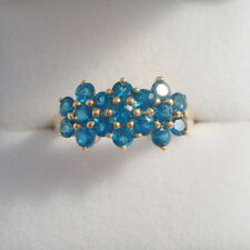 Certified Bright Blue Neon Apatite Gold Band Ring