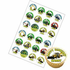 Digger and Tractor Birthday Cup Cake Topper - 24 x High Quality Edible Icing