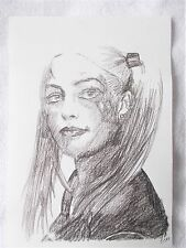 A4 Art Graphite Pencil Sketch Drawing Actress Margot Robbie as Harley Quinn