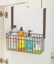 Brown Over-Cabinet-Door Towel Bar With Basket Bathroom Organizer Storage Bin