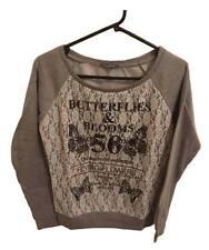 Lady Women Girls Hot Top Jumper Sweater Cardigan Outwear M 56 Butterfly Sports Grey