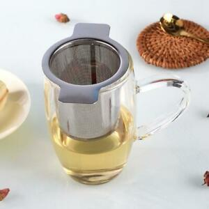 1xStainless Mesh Tea Infuser Strainer Loose Leaf Filter With Cup Metal Lid M6Z0