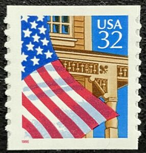 """1996 Scott #2915a, 32¢, FLAG OVER PORCH - Coil Single Red """"1996"""" - Mint NH"""