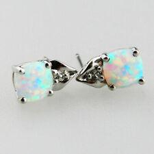 Sehr schöne 585er Weissgold Ohrringe mit Opal & 2 kleinen Diamanten - V5919