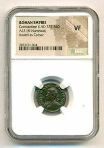 Roman Empire Constantine II AD 337-340 BI Nummus as Caesar VF NGC