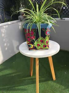 fabric plant pot holder African wax print textile basket made in cornwall