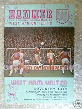 1981 WEST HAM UNITED v COVENTRY CITY, 10 Feb (League Cup Semi FINAL 2nd Leg)