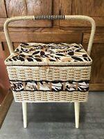 Vtg Azar Japan Wicker Sewing Basket Stand w/ MCM Legs Handle & Plastic Tray