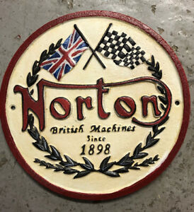 NORTON Motorcycle sign plaque in cast iron hand painted
