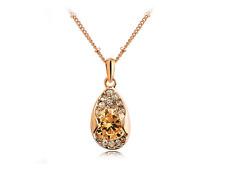 Super Fashion Citrine Cubic Zirconia Rose Gold Rain Drop Pendant Necklace