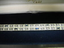 Antique 14k Art Deco Sapphire & Filigree White Gold BRACELET Perfect Mint Cond.