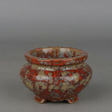 "3.5/""Collect China Porcelain Fambe Red Glaze Tripodia Small Incense Burner Censer"